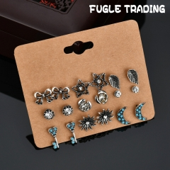 FUGLE TRADING 9 Pair/set Vintage Silver Plated Crystal Stud Earring Alloy Earrings Jewelry Silver As Picture