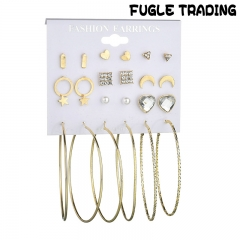 FUGLE TRADING 12 Pair/set Pearl Crystal Stud Earring Set Plated Alloy Triangle Earrings Jewelry Gold As Picture