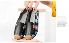 TBC Women's leather loafers big size shoes printed with flowers Y178 black 36
