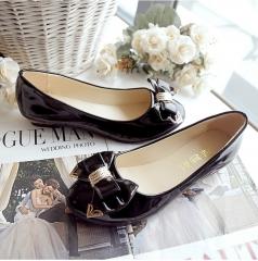 TBC Women's PU flat shoes sweet lovely shoes PN_518 black 36