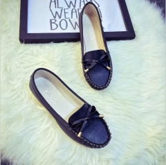 TBC Women's comfortable loafers PU flat shoes with ties black 36