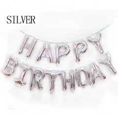 16IN Happy Birthday balloon air Letters foil balloons kids toy party birthday party SILVER one size SILVER one size