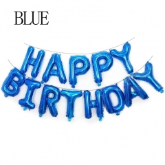 16IN Happy Birthday balloon air Letters foil balloons kids toy party birthday party SILVER one size blue one size