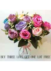 5PCS/LOT ARTIFICIAL TEXTILE FLOWER FOR HOME DEC.BIRTHDAY WEDDING PARTY DEC. BRIDAL BOUQUET MIX ONE SIZE