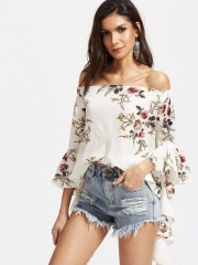 Women New Recommended Flare Sleeves Printing Long Sleeve Blouse white s