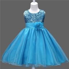 Girls Sequined Sarong Skirt Peng Peng Princess Skirt Five Layers BLUE 110cm