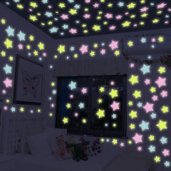 100Pcs/Bag Stars Decal Glow Fluorescent 3D Wall Stickers Home Decor color one size