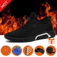 Hot-Men shoe running men's sports shoe Breathable Trendy British Casual Business Shoe with 5 gifts! black a 39