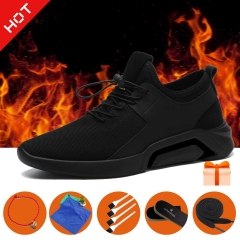 Hot-Men shoe running men's sports shoe Breathable Trendy British Casual Business Shoe with 5 gifts! black b 44