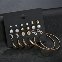 Pack of 12! Hot Style Graceful Beauty Stars Moon Ear stud Wire Ear Loop Combination jewelry set gold as picture