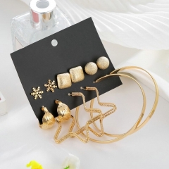 6 pairs /Leaves, star and snowflake earrings gold as picture