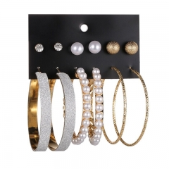 6 pairs/Big pearl ring, ring, small pearl earrings gold as picture