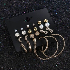 12 pairs/The moon, love, pearl, big circle earrings gold as picture