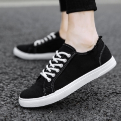 Canvas shoes, men's white shoes, fashion sports shoes, men's shoes black 39