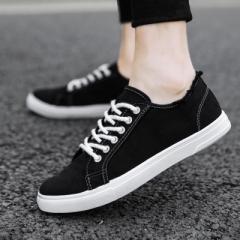 Canvas shoes, men's white shoes, fashion sports shoes, men's shoes black 39