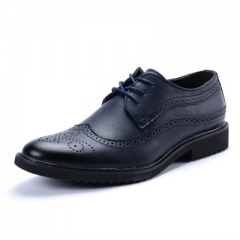 2018 new men's leather shoes with Bullock carved fashion men's shoes blue 47