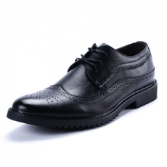 2018 new men's leather shoes with Bullock carved fashion men's shoes black 47
