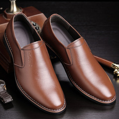 New Men's Business Suit Leather Shoes British Leisure Leather Shoes Anti-skid Men's Shoes brown 41