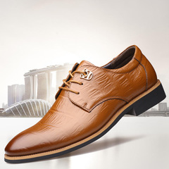 New Men's First-Class Cowhide Business Leather Shoes Embossed Men's Shoes with Low Uppers yellow 44