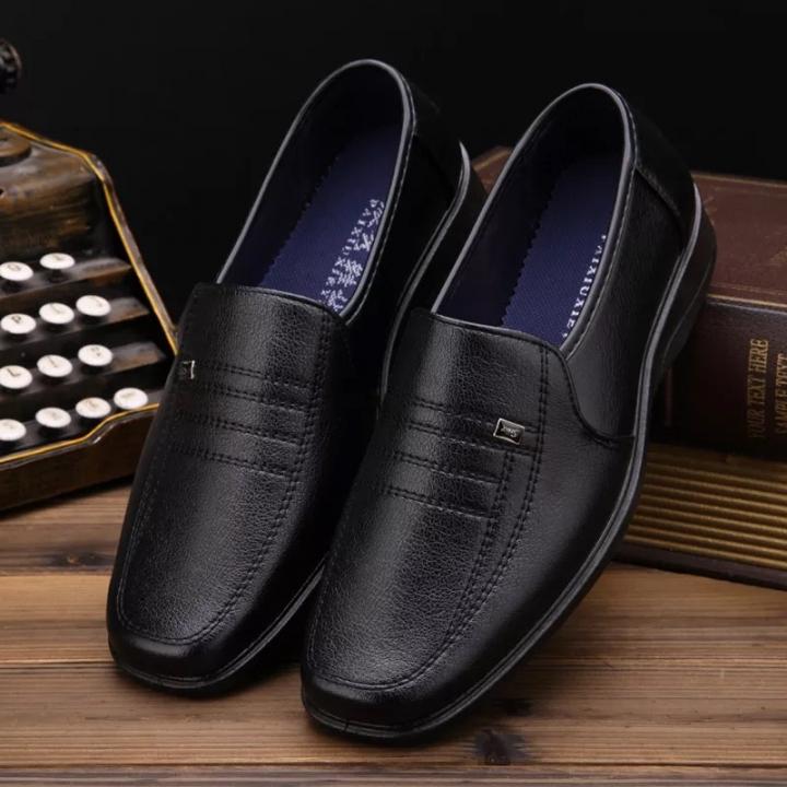 Men's Dress Shoes Black Brown Men Leather Shoes High Quality Business Men Shoes BLACK black 39