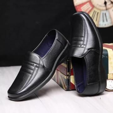 2018 Men Dress Shoes Gentlemen Split Leather Shoes Formal Shoes Business Style Slip On Men Shoes black 39