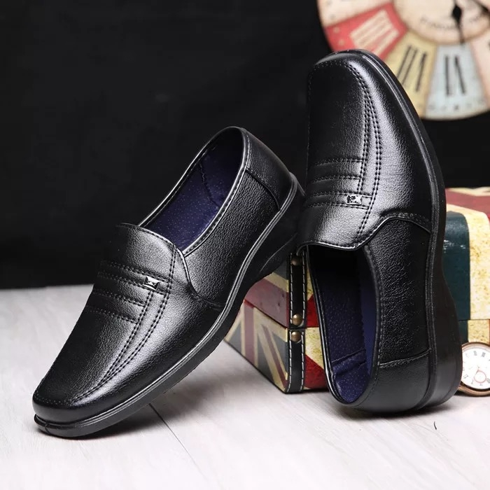 2018 Men Dress Shoes Gentlemen Split Leather Shoes Formal Shoes Business Style Slip On Men Shoes black 39