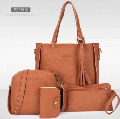 4PCs new women handbag hand bag Designer High Quality Leather Women Bag brown nomal