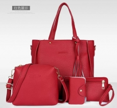 4PCs new women handbag hand bag Designer High Quality Leather Women Bag red nomal