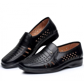 ON SALE Men Dress Shoes Gentlemen Split Leather Shoes Formal Shoes Business Style Slip On Men Shoes black 39