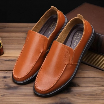 Male Casual Leather Loafer Shoes Men Fashion Lazy Slip Driving Shoes 1 39