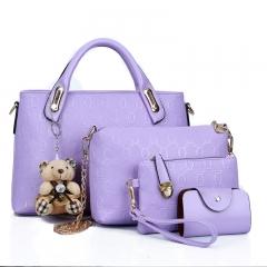 New European and American mother bag four-piece women's handbag shoulder diagonal package purple Length 32 width 12 height 20