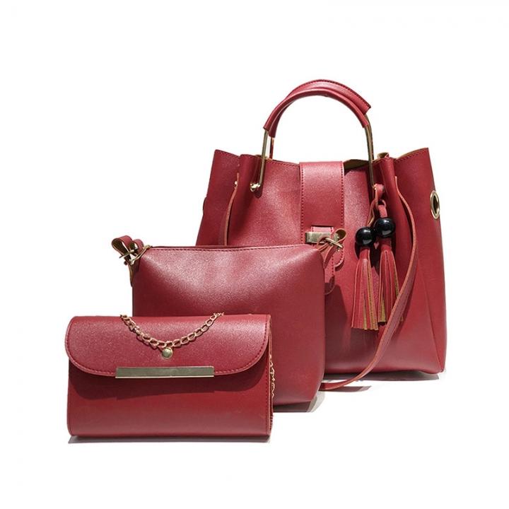 New fashion trend versatile handbag shoulder messenger bag casual bag three-piece suit red Length 35 width 14 height 31