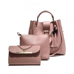 New fashion trend versatile handbag shoulder messenger bag casual bag three-piece suit pink Length 35 width 14 height 31