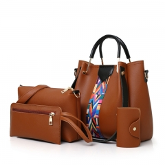 New Korean fashion multi-piece women's bag shoulder bag diagonal cross package brown Length 25 width 13 height 25