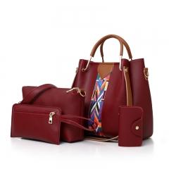 New Korean fashion multi-piece women's bag shoulder bag diagonal cross package red Length 25 width 13 height 25