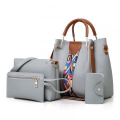 New Korean fashion multi-piece women's bag shoulder bag diagonal cross package light grey Length 25 width 13 height 25