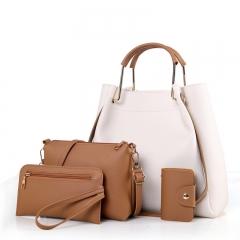 New fashion ladies bag four-piece single shoulder Messenger bag white 长34cm 厚13cm 高30cm 手提8cm<font style=