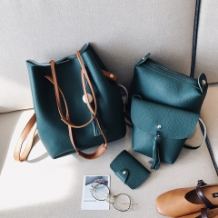 New women's bag Korean version of the wooden beads four-piece bucket bag shoulder bag Messenger green 22*27*16