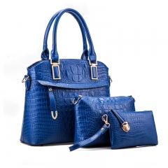 New fashion crocodile pattern handbag diagonal cross child package three-piece blue 32*12*27