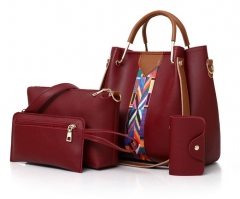 Lady Fashion Color Strap Bag Handbag 7 Color 4PCs Classic Style Luxury Handbag PU Leather red 4 pcs