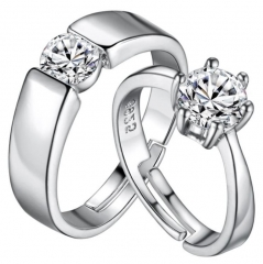Couple lover rings silver open rings classic style diamond romantic wedding engagement silver one size