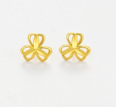 Gold-plated small earrings Imitation gold 24K gold earrings female retro simple earrings A One