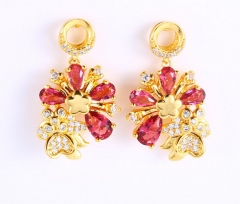 Hot sale flower earrings Ruby red one