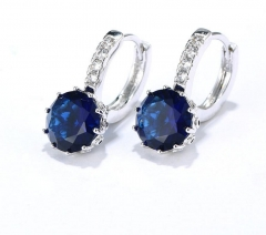 Fashion gold-plated zircon earrings best selling earrings sapphire blue one