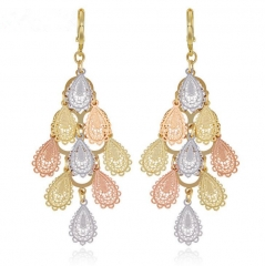 Gold-plated gold-tone gold earrings female Peacock-opening earrings Colorful gold one