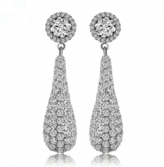Earrings women's long fashion water drops gold-plated zircon jewelry crystal white one