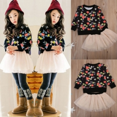 Girls' Daily Going out Solid Floral Clothing Set, Cotton Rayon Long Sleeves Cute Active black ZM101A 100
