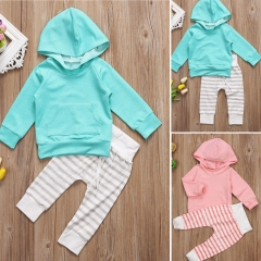 Unisex Daily Solid Striped Clothing Set, Cotton All Seasons Long Sleeves Simple Casual green GG287B 3Y