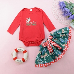 Girls' Daily Holiday Solid Polka Dot Animal Print Clothing Set, Cotton Long Sleeves Cute red GX565A 80