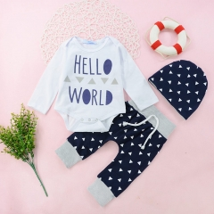 Unisex Daily Holiday Geometric Print Clothing Set, Cotton Long Sleeves Casual Active royalblue GL282A 100